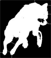 bridged layer 1 of stencil of Jumping Wolf