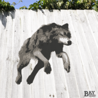 painted stencil art of Jumping Wolf
