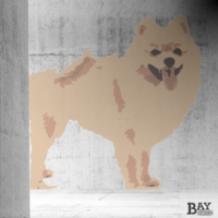 simulated stencil painting of Pomeranian