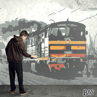 painted stencil art of Locomotive