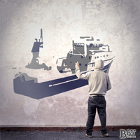 simulated stencil painting of Trawler
