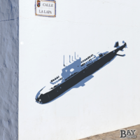 painted stencil art of Submarine