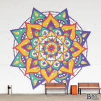 painted stencil art of Mandala